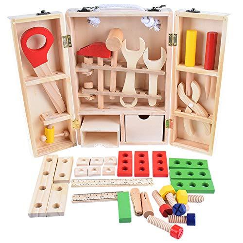 MELLRO Kinderspielblöcke Gebäude Lernen Spielset mehrfarbige Holzwerkzeuge und Tragetasche Kinder DIY Tischler Spielzeug Für Kleinkinder Kinder Mädchen & Jungen