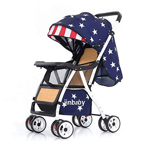 Kays Baby Pushchair, Lightweight Stroller Foldable Summer Bamboo Rattan Wicker Chair Travel Buggy, from Birth to 3 Years, 0-15 Kg (Color : Blue star)