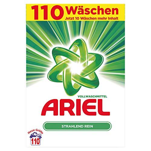 Ariel Vollwaschmittel Pulver Strahlend Rein, 7,15kg– 1er Pack (1 x 110 Waschladungen)