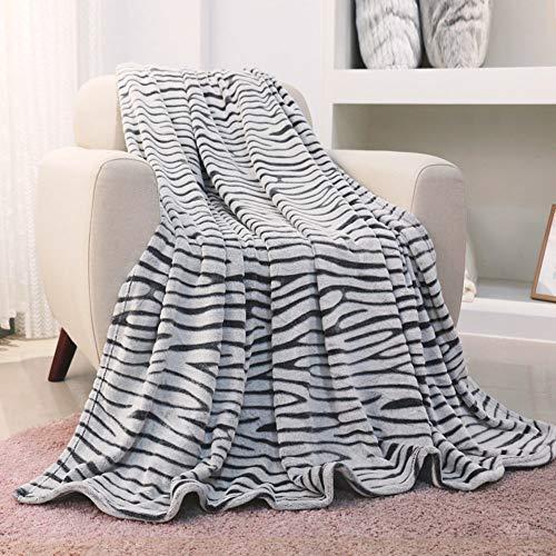 FY FIBER HOUSE Flannel Fleece Throw Blanket, Lightweight Cozy Plush Microfiber Bedspreads for Adults,150x200cm,Black Zebra