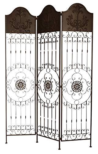 aubaho Paravent Pergola Spalier Rankhilfe Zaun 19kg Metall antik Stil Raumteiler braun