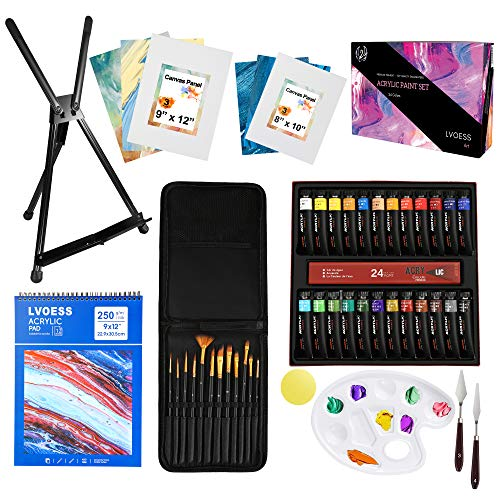 Lvoees Acrylic Paint Set Professional Painting Supplies Kit with Acrylic Paints Painting Brushes Metal Easel Canvases Palette Paint Knives Acrylic Pad for ArtistsStudents and Kids