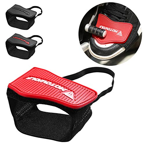Motorcycle Motorbike Shift Pad Shoe Boot Cover Protective Gear Black (red)