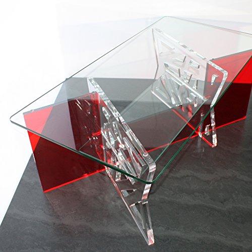 Plastic Art Table Basse en Plexi et Plateaux en Verre trempé, modèle Lucas, Rouge et Transparent (Plexiglas/Altuglas)