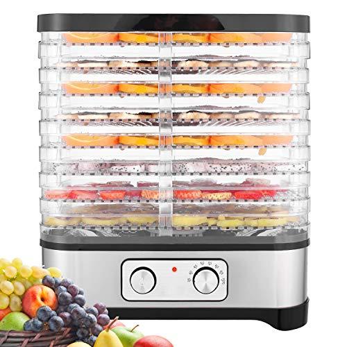 Meykey - Dörrautomat mit Temperaturregler - Dörrgerät für Lebensmittel Fleisch Früchte Gemüse - 400 W - 35 bis 70 Grad - 8 Etagen- GS - Dehydrator - BPA frei