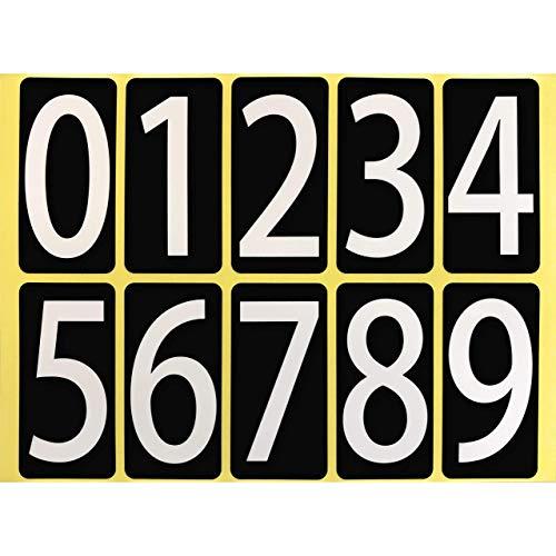 数字 シール 白文字 ユポ 防水 33W091 【大】 大きい ナンバー ラベル 番号 ステッカー PP加工 耐候性 屋外【33×66mm/片】0〜9の10種各1片×1シート 33W091