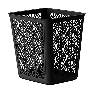 United Solutions SR0349 Trellis Wastebasket, 4 gallon, Black