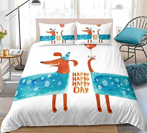 Prinbag Cartoon Pet Bedding Set Dachshund Sausage Dog Duvet cover set Cute Dogs for Kids Teen home Textile 220x240cm