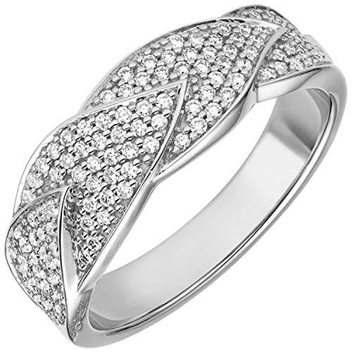 JOBO Damen Ring 585 Gold Weißgold 119 Diamanten Brillanten 0,45ct. Diamantring Größe 58