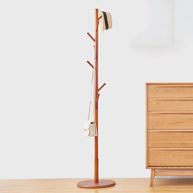 Simple Solid Wood Floor Coat Rack, Assembly 8 Hook, H176cm (color  Honey color) ( Size   Large )