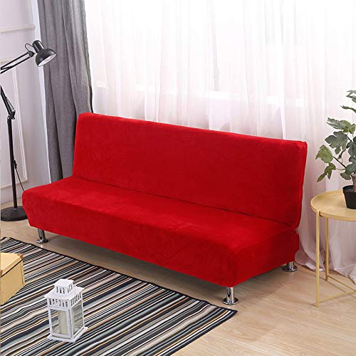 Armlose Sofabezug, Universal Stretch Dick Plüsch Armlose Schlafsofa Sitzbezug, Klappbar Ohne Armlehnen Sofa überwurf, Für Home Hotel (Color 2,S 160-195cm)