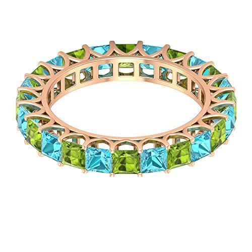 Rosec Jewels 10 quilates oro rosa talla princesa Green Blue Peridot Topacio azul - Suizo