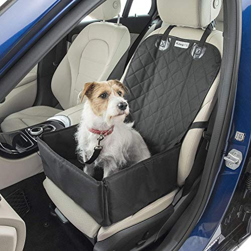 Dog Car Seat Cover with FREE Pet Seat Belt MuttStuff & Co Waterproof Covers (2-in-1) Fold Down Flaps for Full Front Coverage or Small Basket Hammock w/ Sturdy Walls   Travel Accessories
