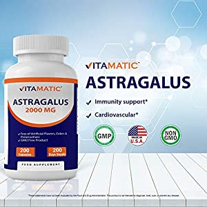 Vitamatic Astragalus Root Extract 2000 mg - 200 Days Supply - 200 Capsules