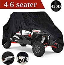 Waterproof UTV Cover, 420D Heavy Duty Oxford Cloth for Polaris RZR Yamaha Can-Am Defender Kawasaki Ranger Cover 4-6 Seater Passenger Protects 4 Wheeler Integrated Trailer System