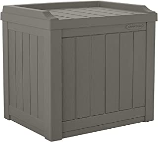 Suncast 22-Gallon Small Deck Box - Lightweight Resin Outdoor Storage Deck Box and Seat for Patio Cushions, Gardening Tools and Toys - Stone Gray