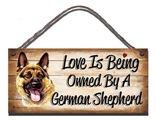 Carcasa de madera con texto en inglés pastor alemán diseño de perro con texto en inglés Love is ser la empresa DE por un pastor alemán de pastor alemán