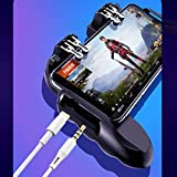 AXI SHOP ONLINE 4 Triggers Mobile Game Controller with Cooling Fan Compatiple for PUBG/COD Mobile/Fotnite [6 Finger Operation] L1R1 L2R2 Grip Gamepad Joystick mobile controller for iOS android Phone