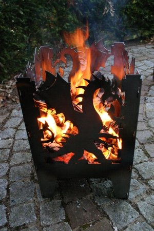 SvenskaV Feuersäule/Feuerkorb Drache Gr. L aus Stahl