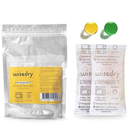 Wisedry 50 Gram [4PACKS] Microwave Fast Reactivate in 2MINS Silica Gel Packets Desiccant Packs Reusable Moisture Absorber for Closet Gun Safes Bathroom Bedroom Basement Storage Color Indicating