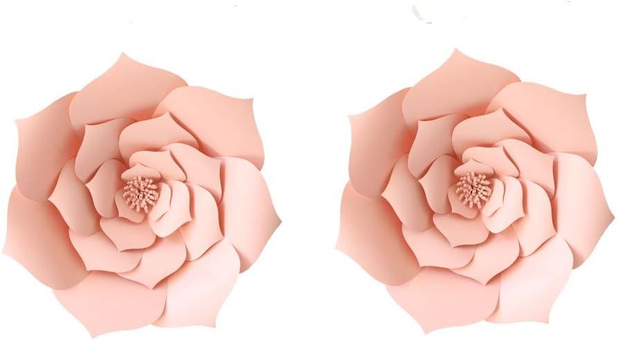 2pcs 8 inch Lt-Pink Party Paper Flower Backdrop DIY Handemade Flower Wall Backdrop Decoration Wedding Rose Flower for Nursey Birthday Home Decor (2pcs, 8inch-Lt Pink)