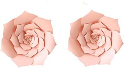 LG-Free 12 inch 2pcs Party Paper Flower Backdrop DIY Handemade Flower Wall Backdrop Decoration Wedding Rose Flower for Nursey Birthday Home Decor (2pcs, Lt-Pink)
