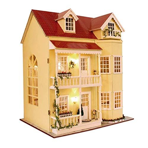 Puppe Haus Spielzeug Großes Haus Cottage Puppe Hausmöbel DIY Puppenhaus Holz DIY Puppenhaus Miniatur Puppenhaus Möbel Kinder Spielzeug LED Interagieren mit Kindern (Farbe: rot, Größe: 48 × 38 cm) YMIK