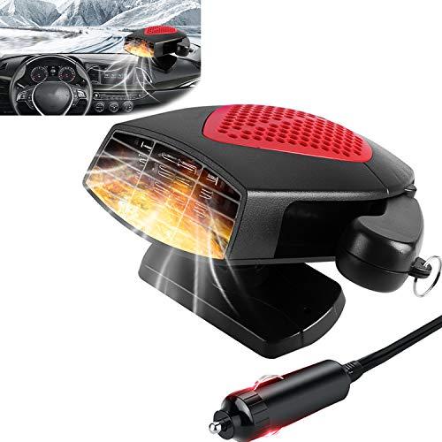 AUPERTO Dégivreur de pare-brise 2 en 1 - 12 V 150 W - Portable - Dégivreur de pare-brise - Avec support rotatif à 360°