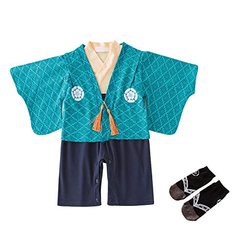 Yilakuベビー 赤ちゃん 袴風 カバーオール ロンパース フォーマル 男の子 羽織 セット お食い初め 百日祝い