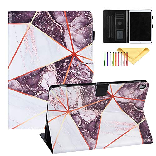 Uliking Case for iPad 10.2' 2020 2019 (7th, 8th generation) / iPad Pro 10.5/ iPad Air 3 Cover with Pencil Holder Marble Painting PU Leather Smart Cover Multi Angle Viewing Stand, Black White Marble
