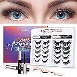MAPHIE 10 Pairs Magnetic Eyelashes, Magnetic Eyelashes Kit with Magnetic Eyeliner, Tweezer and Rich styled & Reusable Magnetic Eyelashes, Natural Look & Long-Lasting-No Glue Need