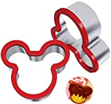 Hibery 2 Pack Mickey Mouse Cookie Cutters, Holiday Sandwich Cutter, Food Grade Stainless Steel Sandwich Cookie Cutters for Kids - Suitable for Cakes, Cookies & Sandwich