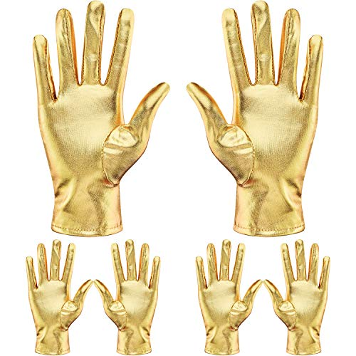 SATINIOR 3 Pairs Metallic Gold Costume Gloves Shiny Metallic Wrist Gloves for Women and Kids Princess Evening Party Dancing Tea Party Halloween Party Dress Supplies