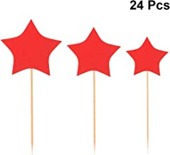 BESTOMZ 24 Pcs Cake Toppers Glitter Paper Star Cake Fruit Picks Cupcake Decoration Party Supplies (3 Sizes Mixed)