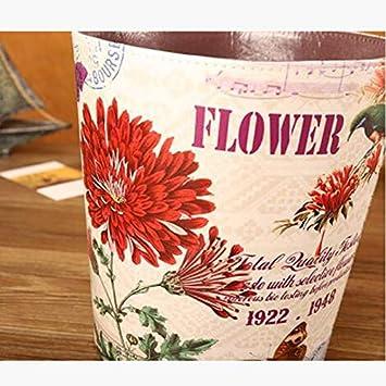 Color : A Blumenmuster, Multi-Color optional QYLOZ 10L-Haushalt M/ülleimer wasserdicht gro/ße abdeckbare M/ülleimer 25 /× 27 /× 20,5 cm