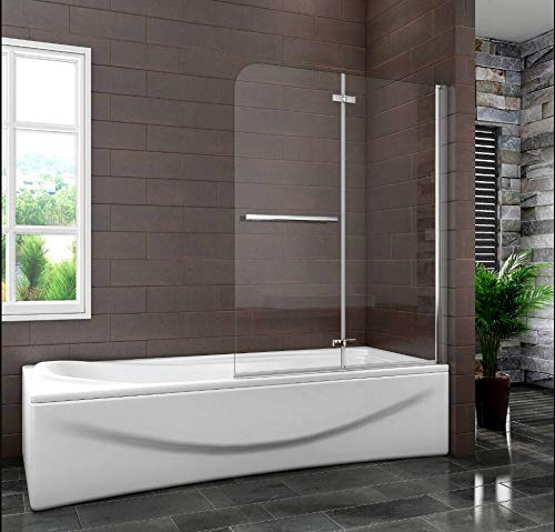 Mampara de Bañera Plegable con Bisagra Cristal Antical 6mm 100x140cm