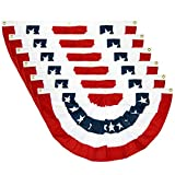 PINCHUANG 1.5x3Ft USA Patriotic Pleated Fan Flag - 6PC American US Flag Bunting Banner Patriotic Bunting Flag Stars and Stripes Flag Bunting for Memorial Day The 4th of July and Labour Day