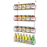MILIJIA Magnetic Rack Organizer for Refrigerator, 4-Tier Strongly Magnet Spice Shelf Storage, Fridge Storage Racks for Kitchen and Pantry Storing Spices, Plastic Wraps or Garbage Bags and More