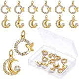Batiyeer 12 Pieces Butterfly Moon Charm Pendants 0.43 Inch/ 11 mm Rhinestone Crystal Butterfly Moon Choker Necklaces Pendants Micro Pave Brass Accessories for DIY Chain Bracelets Jewelry Making