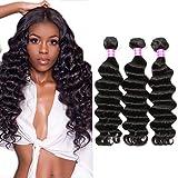 5. Symorain Human Hair Loose Deep Wave Bundles Brazilian Virgin Human Hair Bundles 10A Loose Deep Curly Weave Bundles Natural Color (16 18 20 Inch)