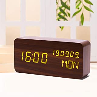 Digital Wooden Alarm Clocks for Bedrooms with LED Large Display, 3 Alarm Setting and Humidity Temperature Detect, Adjustable Brightness Voice Control with USB Battery Powered for Study/Office - Brown