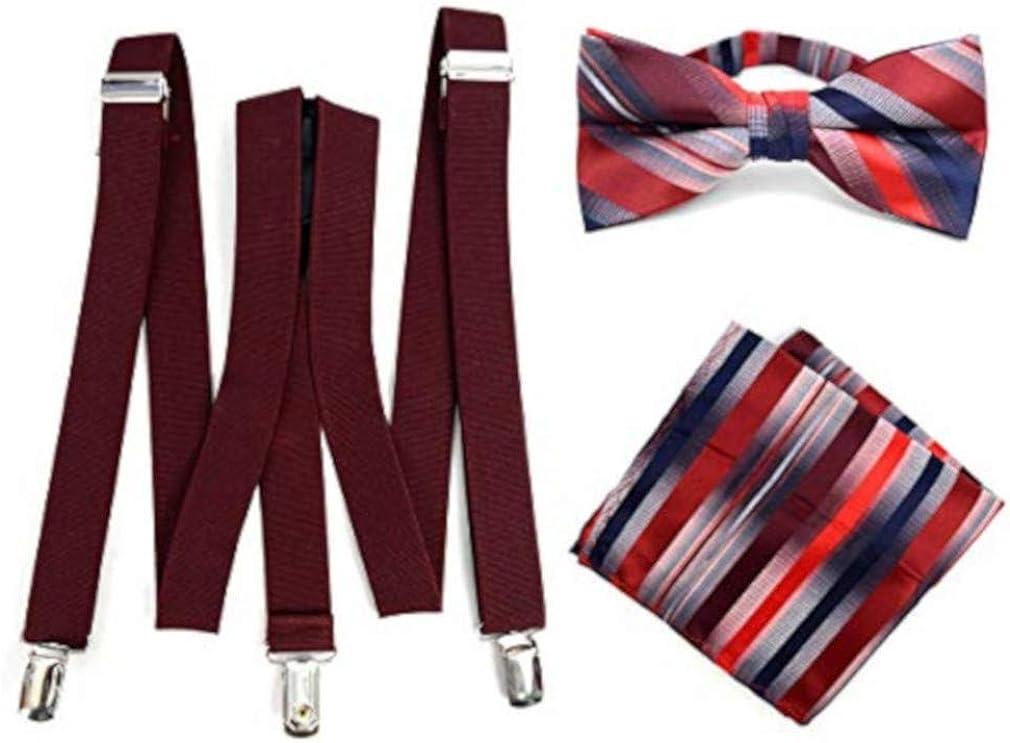 Men's Formal Burgundy 3 PC Clip-on Suspenders, Pre-Tied Bow Tie and Hankie Designer Set