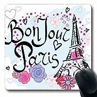 マウスパッドBonjourかわいいパリグラフィック抽象的な女の子レトロなスローガンフレンチタワーこんにちは描画デザインノンスリップゲームマウスパッドラバー長方形マット