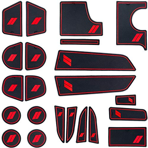HAMSAM for Dodge Charger Accessories 2015-2021 Non-Slip Anti Dust Cup Holder Inserts, Door Pocket Liners and Center Console Liner Mats Premium Custom Interior(22pcs Set,Red Trim)