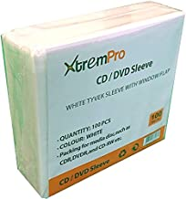 XtremPro CD DVD Tyvek Sleeves Double Sided Wallet Plastic Sleeve Insert Holds 2 Discs 100Pcs - White (11089)