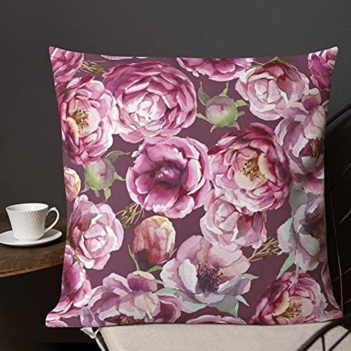 Funda de cojín con diseño de peonías rosadas en color granate con diseño floral, estilo boho, elegante, suave y acogedor, ideal para regalo, decoración de sofá y caravana