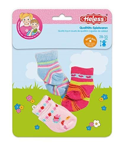 Heless 763 - Söckchen für Puppen, verschiedene Farbvarianten und Muster, 3 Paar, Größe 28 - 35 cm