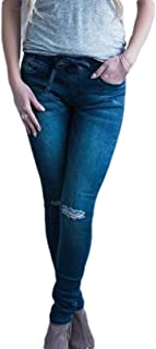 Womens Street Mid Waisted Ripped Holes Stretchy Fit Jeans Denim Pants