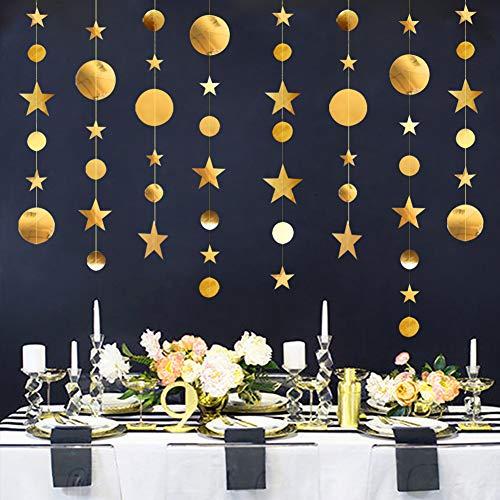 Yuccer Papier Girlande Dekorationen, 39 Fuß Papiergirlanden Star Glitzer Girlanden Hängende Dekoration zum Geburtstag Babyparty Weihnachten Hochzeit Neujahr Party (Gold)