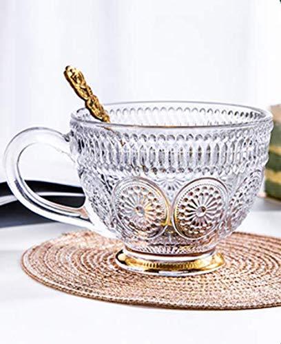 Glas Kaffee Groß Kaffeeglas Vintage Teetasse Klar Kristallglas Kaffeetasse mit Henkel Frühstücksglas Müsli Glastasse Cappuccino Macchiato Teeglas Tee Trinkglas Latte Dessertglas Joghurt Eis